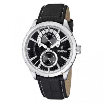 Festina Herren-Armbanduhr XL Klassik Multifunktion Analog Quarz Leder F16573/3