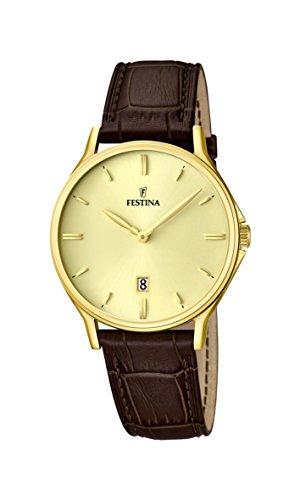 Festina Herren-Armbanduhr XL Analog Quarz Leder F16747/2 -