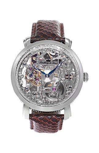 Lindberg & Sons – SK14H063 -Herren-Armbanduhr – Automatik – Analog – braunes Lederarmband