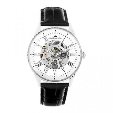Lindberg & Sons Herren-Armbanduhr Automatik Analog Skelettuhr Leder Schwarz – CHP150