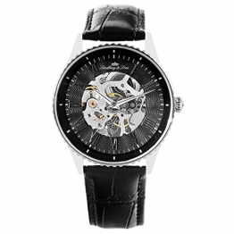 Lindberg & Sons Herren-Armbanduhr Automatik Analog Skelettuhr Leder Schwarz – CHP151