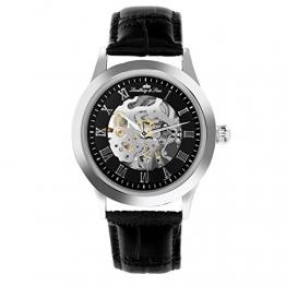 Lindberg & Sons Herren-Armbanduhr Automatik Analog Skelettuhr Leder Schwarz – CHP194