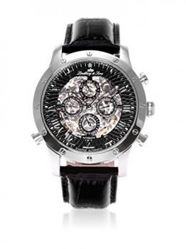 Lindberg & Sons Herren-Armbanduhr Automatik Analog Skelettuhr Leder Schwarz – SK14H002