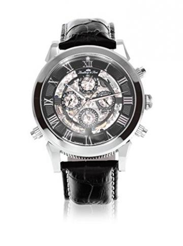 Lindberg & Sons Herren-Armbanduhr Automatik Analog Skelettuhr Leder Schwarz – SK14H011