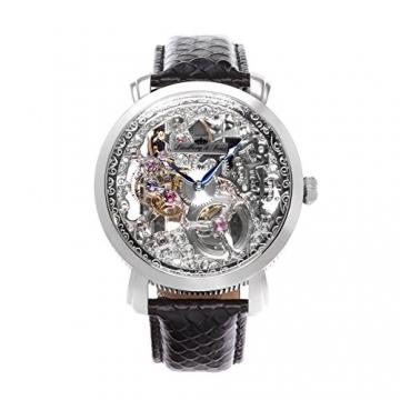 Lindberg & Sons Herren-Armbanduhr Handaufzug Analog Skelettuhr Leder Schwarz – SK14H061