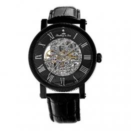 Lindberg & Sons Herren-Armbanduhr mit einem echten Diamanten – Automatik Analog Skelettuhr Lederarmband Schwarz – SK14H021
