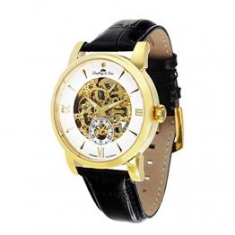 Lindberg & Sons Herren-Armbanduhr mit einem echten Diamanten – Automatik Analog Skelettuhr Lederarmband Schwarz – SK14H048