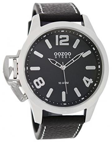 Oozoo Steel OS0338 XXL Damenuhr silber-schwarz