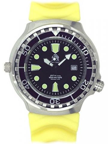 Taucher Uhr m. Automatik Werk Saphir Glas PU Band Helium Ventil T46-Y