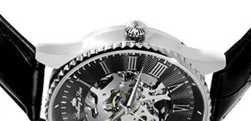 Lindberg & Sons Herren-Armbanduhr Automatik Analog Skelettuhr Leder Schwarz – CHP151 -