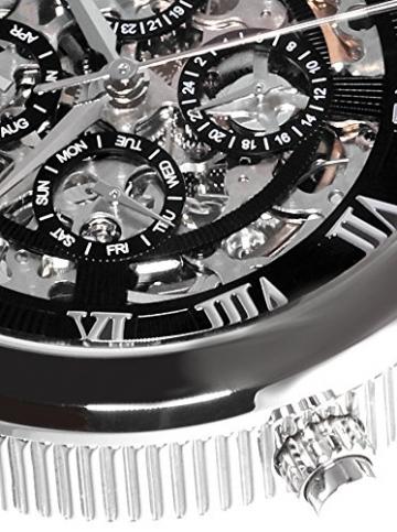 Lindberg & Sons Herren-Armbanduhr Automatik Analog Skelettuhr Leder Schwarz – SK14H011 -