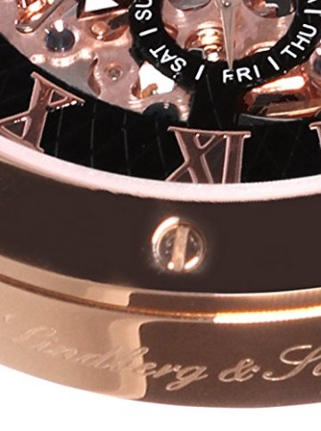 Lindberg & Sons Herren-Armbanduhr Automatik Analog Skelettuhr Leder Schwarz – SK14H004 -