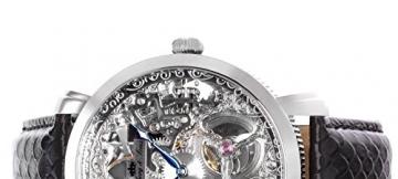 Lindberg & Sons Herren-Armbanduhr Handaufzug Analog Skelettuhr Leder Schwarz – SK14H061 -