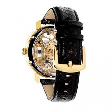 Lindberg & Sons Herren-Armbanduhr Handaufzug – Wasserdicht bis 5 ATM – Analog Skelettuhr Lederarmband Schwarz – SK14H062 -