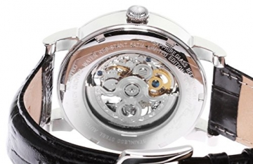Lindberg & Sons Herren-Armbanduhr mechanische Automatik Analog Skelettuhr Leder Schwarz – SK14H047 -
