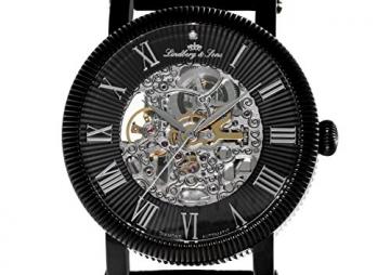 Lindberg & Sons Herren-Armbanduhr mit einem echten Diamanten – Automatik Analog Skelettuhr Lederarmband Schwarz – SK14H021 -