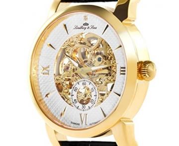 Lindberg & Sons Herren-Armbanduhr mit einem echten Diamanten – Automatik Analog Skelettuhr Lederarmband Schwarz – SK14H048 -