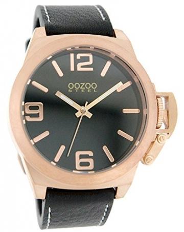 Oozoo Steel OS0106 XXL Damenuhr rose/schwarz – 45 mm -