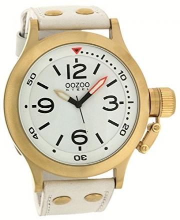 Oozoo Steel OS0206 XXL Damenuhr goldfarben/weiss – 48 mm -