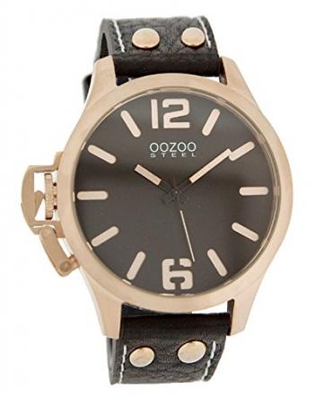 Oozoo Steel OS0252 XXL Damenuhr dunkelbraun/rose – 46 mm -