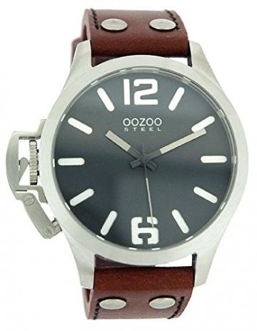 Oozoo Steel OS0256 XXL Damenuhr – Lederband – 46 mm -
