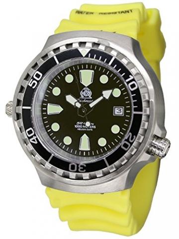 Taucher Uhr m. Automatik Werk Saphir Glas PU Band Helium Ventil T46-Y -