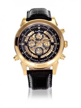 Lindberg & Sons Herren-Armbanduhr Automatik Analog Skelettuhr Leder Schwarz - SK14H015 -