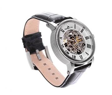 Lindberg & Sons Herren-Armbanduhr Automatik Analog Skelettuhr Leder Schwarz - SK14H017 -