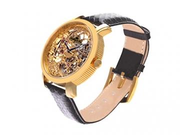 Lindberg & Sons Herren-Armbanduhr Handaufzug Analog Skelettuhr Leder Schwarz - SK14H060 -
