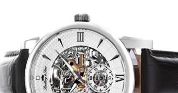 Lindberg & Sons Herren-Armbanduhr mechanische Automatik Analog Skelettuhr Leder Schwarz - SK14H046 -