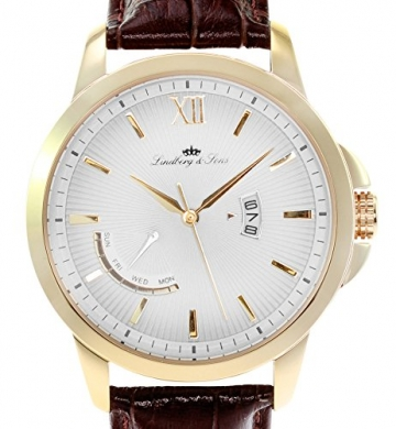 Lindberg & Sons Herren-Armbanduhr Quarz Analog Leder Braun - LS15H7 -