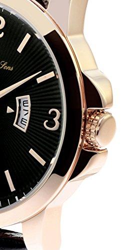 Lindberg & Sons Herren-Armbanduhr Quarz Analog Leder Schwarz - LS15H10 -