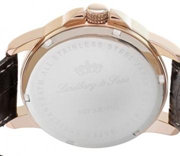 Lindberg & Sons Herren-Armbanduhr Quarz Analog Leder Schwarz - LS15H4 -