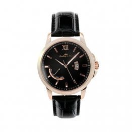 Lindberg & Sons Herren-Armbanduhr Quarz Analog Leder Schwarz - LS15H5 -