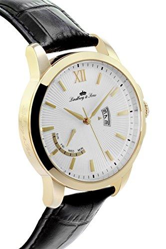 Lindberg & Sons Herren-Armbanduhr Quarz Analog Leder Schwarz - LS15H6 -