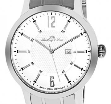 Lindberg & Sons Herren-Armbanduhr Quarz Schweizer Werk Analog Edelstahl - LSSM305 -