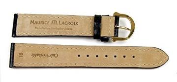 Maurice Lacroix Ersatzband Uhrenarmband Kalbsleder Band Kroko-Optik schwarz 20896G, Stegbreite:16mm -