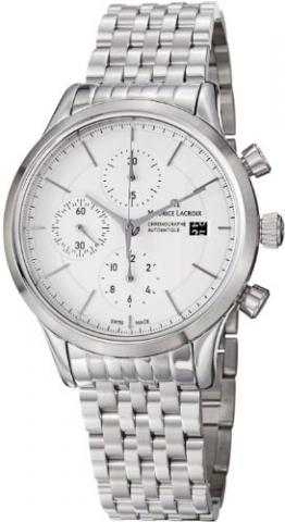 Maurice Lacroix Les Classiques Chronograph, Uhr, Edelstahl, Weiss, ML 112 -