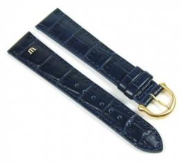 Maurice Lacroix Louisiana Optik Ersatzband Uhrenarmband Kalbsleder Blau 21070G, Stegbreite:14mm -