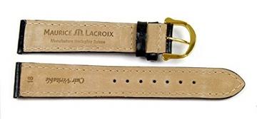 Maurice Lacroix Louisiana XL Ersatzband Uhrenarmband Leder Band schwarz 22937G, Stegbreite:18mm -