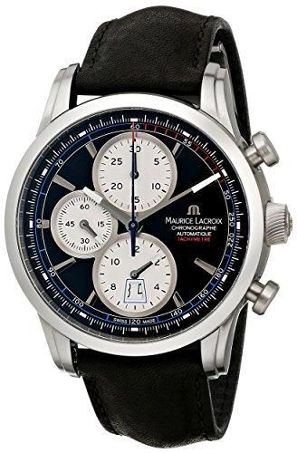 Maurice Lacroix Pontos Chrono Retro Automatik Uhr, Edelstahl, Schwarz -
