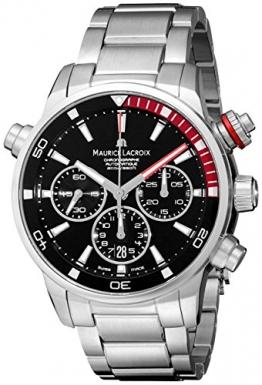 Maurice Lacroix Pontos S Automatik Uhr, Edelstahl, Schwarz-Rot -