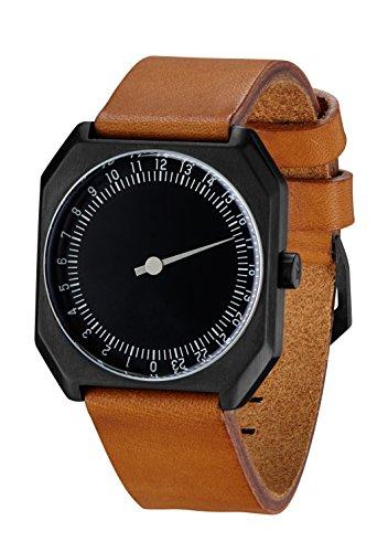 Slow Jo 19-Braun Vintage Leder schwarz Fall Schwarz Zifferblatt Unisex Quarzuhr mit schwarzem Zifferblatt Analog-Anzeige und braunem Lederband -