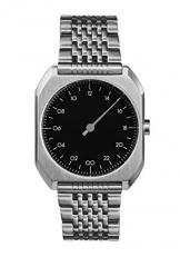 Slow MO 02-alle Silber Stahl schwarz Zifferblatt Unisex Quarzuhr mit schwarzem Zifferblatt Analog-Anzeige und Silber Edelstahl Armband -