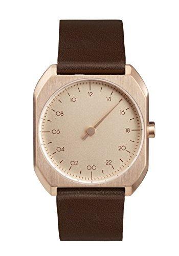 slow Mo 10 - Schweizer unisex Einzeigerarmbanduhr analoge 24 Stundenanzeige Leder roségold / braun -
