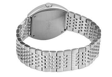 Slow O 02-alle Silber Stahl schwarz Zifferblatt Unisex Quarzuhr mit schwarzem Zifferblatt Analog-Anzeige und Silber Edelstahl Armband -