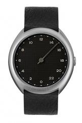 slow O 05 - Schweizer Unisex Einzeigerarmbanduhr analoge 24 Stunden Anzeige silber mit schwarzem Lederband -