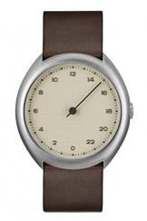 slow O 06 - Schweizer Unisex Einzeigerarmbanduhr analoge 24 Stunden Anzeige silber mit dunkelbraunem Vintagelederband -