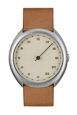 Slow O 07-Braun Vintage Leder Silber Fall Creme Zifferblatt Unisex Quarzuhr mit beigem Zifferblatt Analog-Anzeige und braunem Lederband -