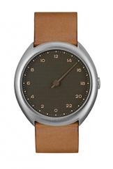Slow O 09-Braun Vintage Leder Silber Fall anthrazit Zifferblatt Unisex Quarzuhr mit grauem Zifferblatt Analog-Anzeige und braunem Lederband -